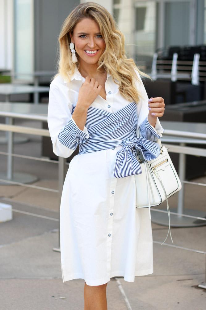white shirt dress rebecca minkoff bag
