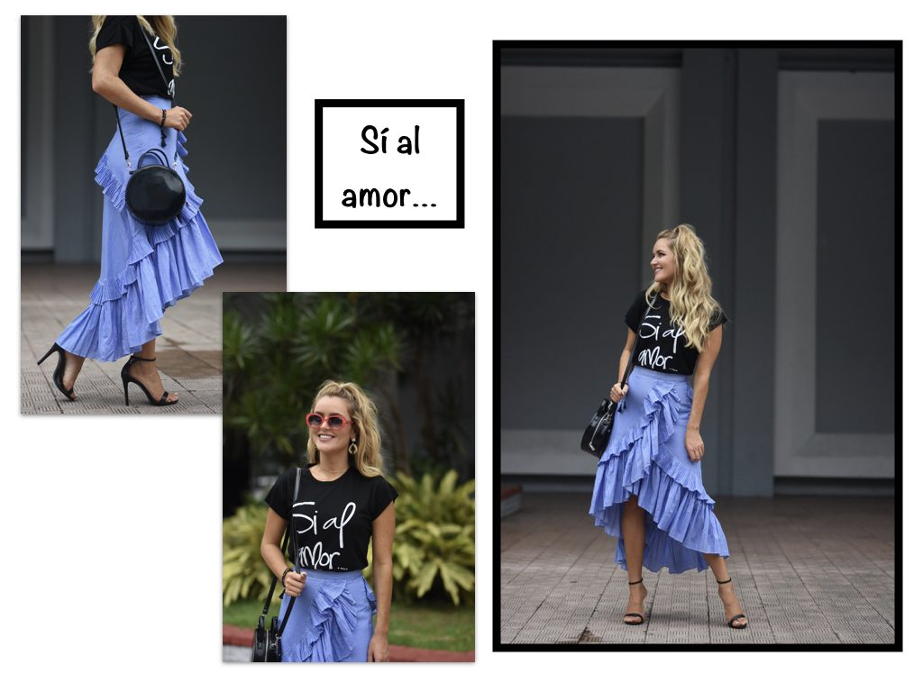 Graphic t-shirts ruffled skirts
