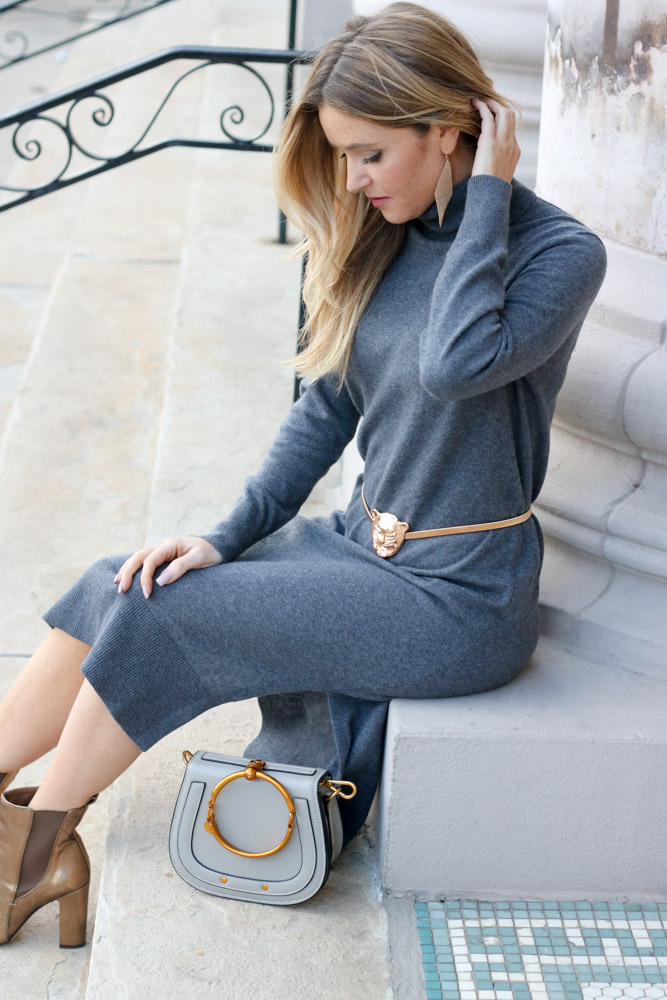 mber for every once in style is wearing a sweater dress from banana republic
